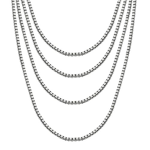 Best Vnox Friend Crystal Necklaces - VNOX Stainless Steel Box Chain Necklace,