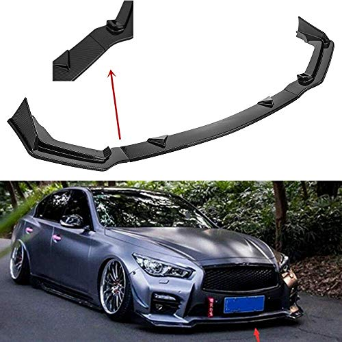 (MotorFansClub 3pcs Front Bumper Lip Splitter for Infiniti Q50 sport 2014-2017 Trim Protection Splitter Spoiler, Black)