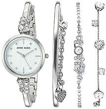 Anne Klein Women's Swarovski Crystal Accented Silver-Tone Bangle Watch and Bracelet Set, AK/3431SVST
