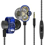 quad beat earphone - In-ear Wired Earbuds, Leagway Quad-core Dual Dynamic Driver Earphones With Microphone Volume Control, HiFi Bass Subwoofer Stereo Sports Headphones for iPhone iPad Android Smartphone Tablet (Blue)
