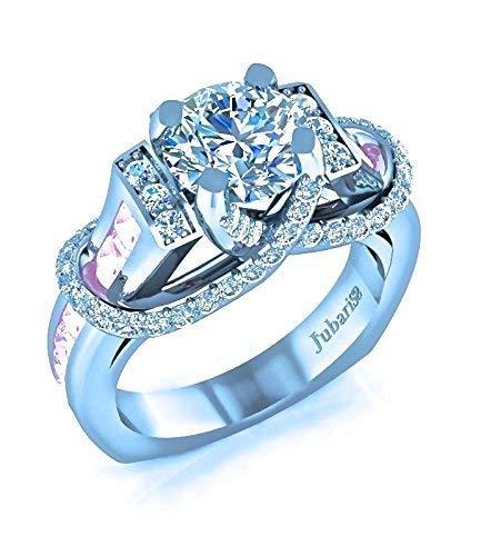 2.40 Ctw Pink Sapphire&Round Diamond Engagement Ring Contemporary Euro Shank Custom Designer 14K White Gold Handmade