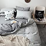 Grey Plaid Duvet Cover Sets Twin Reversible Bedding Set 100% Cotton Children Bedding Collection 3 Pieces 1 Duvet Cover with 2 Pillow Shams Hotel Quality Men Boys Bedding Cover(Gege Qinglian, Twin)