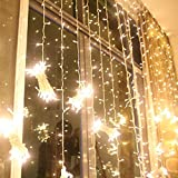 Excelvan 3m x 3m 300 Led Warm White 8 Lighting Modes Curtain Fairy String Lights for Christmas Xmas Wedding Party Home Indoor Outside Garden Patio Window Decorations