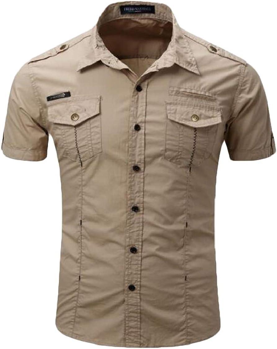 SELX Men Pure Colour Short Sleeve Button Down Casual Outdoor Dress Shirt