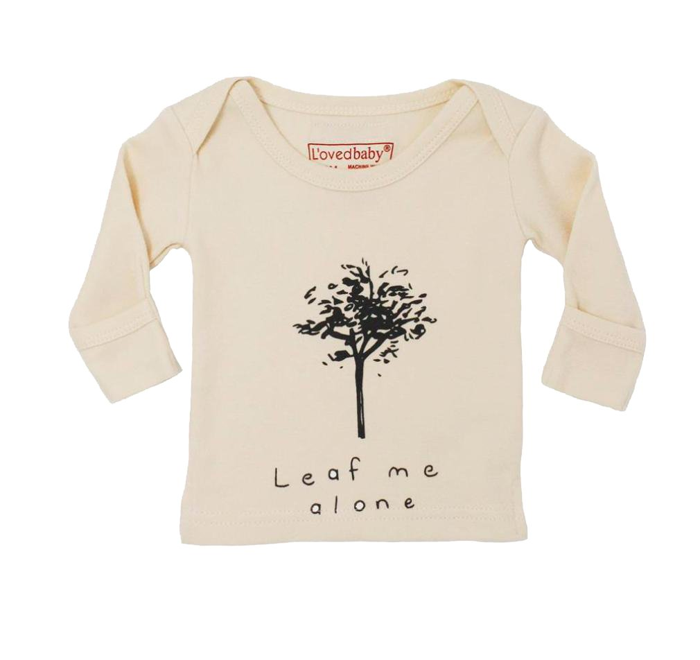L'ovedbaby Unisex-Baby Organic Cotton Long Sleeve Shirt (Beige Leaf Me Alone, 18-24 Months)