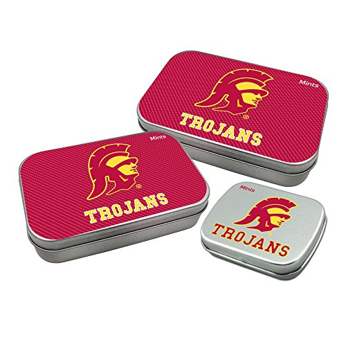 Worthy Promotional NCAA USC Trojans Decorative Mint Tin 3-Pack with Sugar-Free Mini Peppermint Candies -