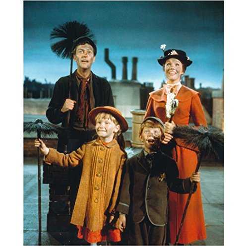Mary Poppins Julie Andrews as Mary Poppins and Dick Van Dyke as Bert with Banks children on rooftop 8 x 10 Inch Photo