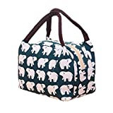 A Little Lemon Cute Reusable Cotton Lunch Bag Insulated Lunch Tote Soft Bento Cooler Bag (Polar Bear)