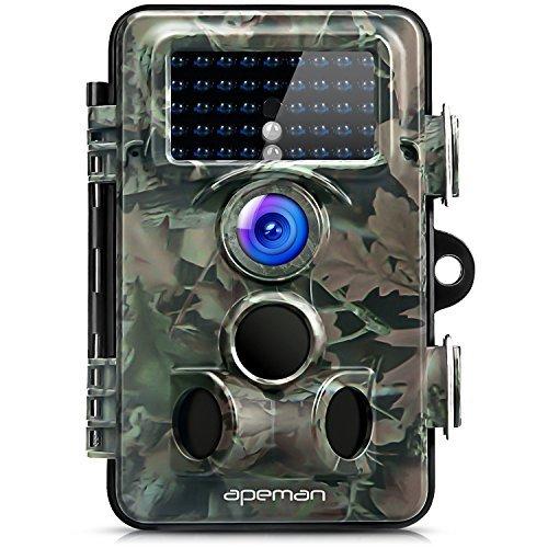 Apeman Trail Cámara 12MP 1080P HD Cámara de caza con 130° ángulo de visión amplio 42Pcs 940nm Invisible IR LEDs...