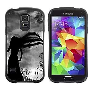 Paccase / Suave TPU GEL Caso Carcasa de Protección Funda para - Long Hair Witch Bare Trees Spooky - Samsung Galaxy S5 SM-G900