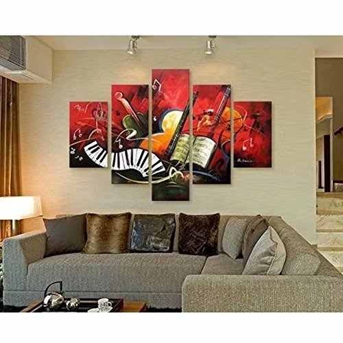 Easy Painter(TM) 5D DIY Diamond Painting Kit Guitar Artwork Music Score Wall Art Decor Landscape Diamond Painting By Numbers on Canvas Embroidery Rhinestone Cross Stitch Arts Craft 5pcs/set by Easy Painter