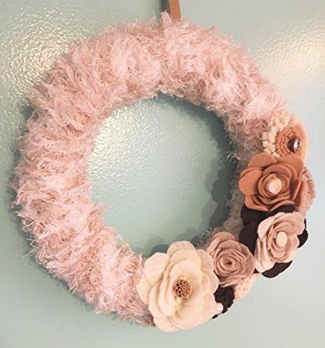 Yarn Wreath (Fall Felt Floral Wreath Wrapped Yarn Wreath with Felt Flowers, Tan and Ivory)