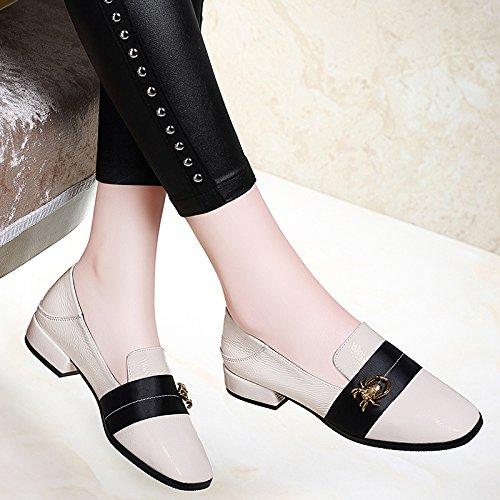 Grueso Y Zapatos La Koyi Cuero De De Mujer Zapatos Beige Coreana Moda Tacón Zapatos Nuevos Primavera Informal De Para De La wnqBvCa