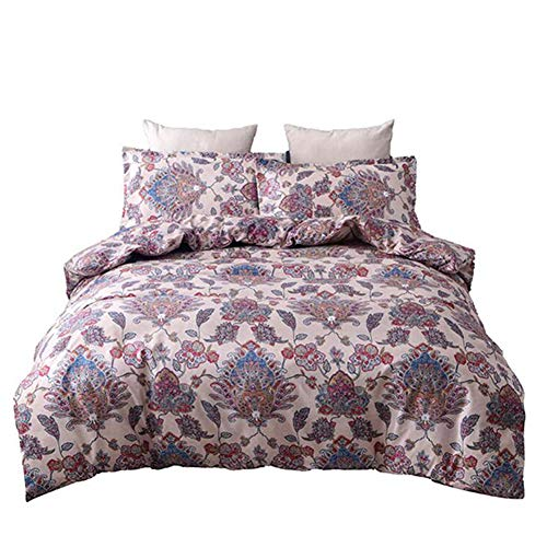 FairOnly 3Pcs/Set Classy Paisely Regal Printing Pattern Bedding Article Soft Microfiber Duvet Cover Set Without Sheet Printing King-104 (Paisely Bedding)