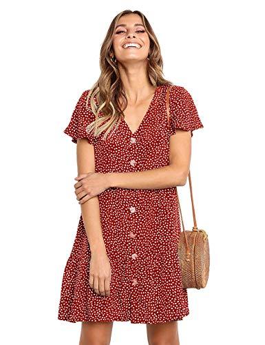 Women's Dresses Casual Polka Dot V-Neck Button Down Short Sleeve Ruffles Loose Fit Mini Summer T-Shirt Dress Red - Bride Beach T-shirts Womens