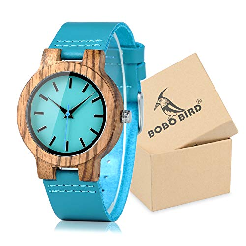 BOBO BIRD Women's Bamboo Wooden Watch with Blue Cowhide Leather Strap Casual Watches for Love Gift with Box