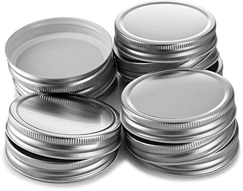 KooK Mason Jar Lids, Wide Mouth, Pack of 12. (Silver)