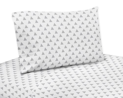 Sweet Jojo Designs Grey and White Triangle Print 3 Piece Twin Sheet Set for Grey, Coral and Mint Woodland Arrow Bedding Collection ()