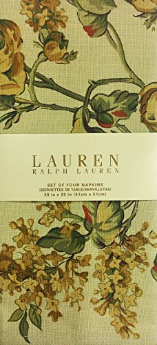 Lauren Ralph Lauren Home Grace Floral Gold Set of 4 Napkins 100% Cotton (20x20)