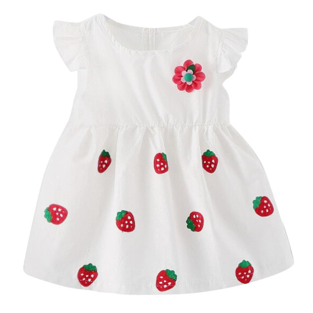Staron Cute Newborn Baby Dress Clothes Strawberry Summer Casual Princess Dresses