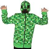 Minecraft Big Boys' Creeper Premium Zip-up Hoodie (Green, Large)