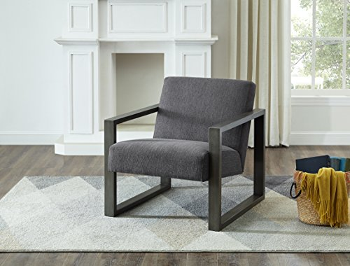 Roundhill Furniture AC221GY Luv Square Arm Rest with Fabric Upholstered Seat Accent Chair, Gray ()