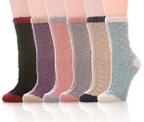 YEBING 6 Pairs Women's Cozy Slipper Socks Super Soft Fuzzy Winter Warm Socks Multi Color (Mixed Color) by YEBING
