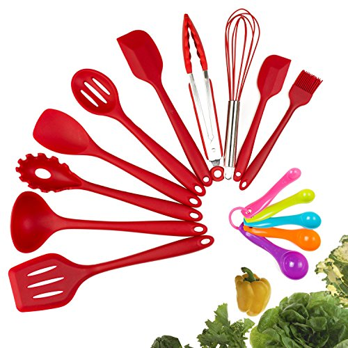 Silicone Kitchen Utensil Set, 10pcs - Heat-Resistant Non-Stick Silicone Cooking Utensils With Solid Core - Baking BBQ Cooking Tool Kit With Spatula, Tongs, Pasta Fork, Turner, Ladle, More (Red)