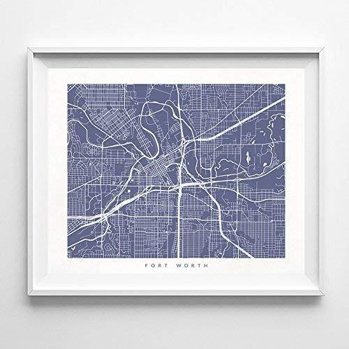 Fort Worth Texas Street Road Map Poster Home Decor Print Modern City Urban Wall Art