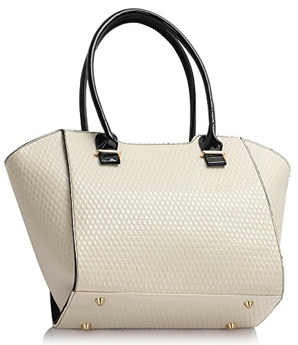 Oversize Designer Large 00473 Handbags 5cm Bags Shopper Ladies LeahWard 32x14x30 Women's Nice Bag Shoulder Tote Cream x7qw8q