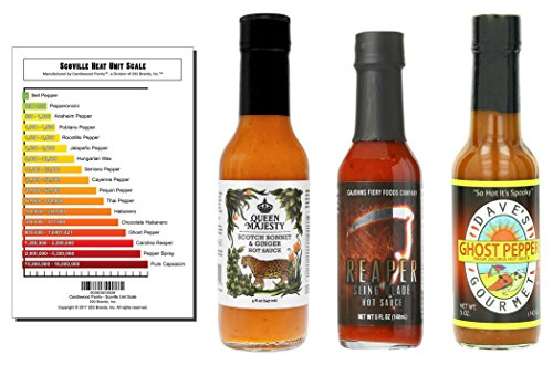 3-Pack Hot Sauce Bundle - Queen Majesty Scotch Bonnet & Ging
