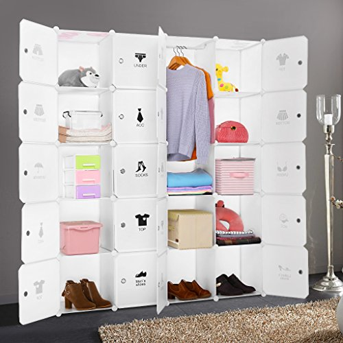 LANGRIA Cubby Shelving 20-Cube Muti-use DIY Portable Storage Drawer Closet Wardrobe, Organizer System,bookcase, cabinet with Lids, Hanging Rod, Milky White