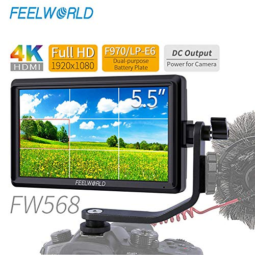 Feelworld FW568 5.5 inch 4K HDMI DSLR Camera Field Monitor Small Full HD 1920×1080 LCD IPS Video Support attendance for DSLR Camera