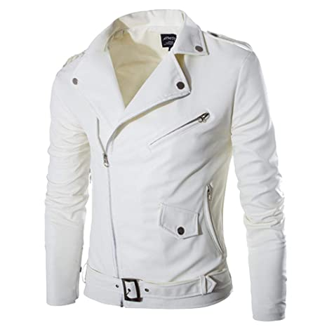 Sagton Mens Leather Jacket Autumn Winter Casual Zipper Long Sleeve White Coat Tops