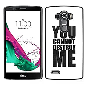 LG G4 / H815 H812 H810 H811 LS991 VS986 US991 Único Patrón Plástico Duro Fundas Cover Cubre Hard Case Cover - Powerful White Minimalist Text