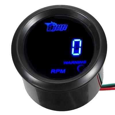 "ESUPPORT Car 2"" 52mm Digital Tacho Gauge Blue RPM Tachometer 0-9999: Automotive"