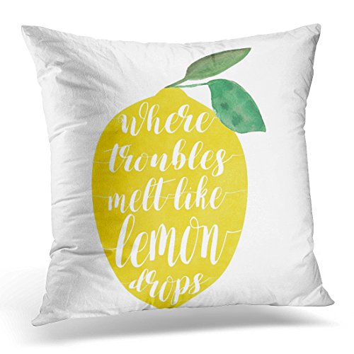 TORASS Throw Pillow Cover Quote Summertime Where Troubles Like Lemon Drops Poolside Decorative Pillow Case Home Decor Square 16x16 Inches Pillowcase