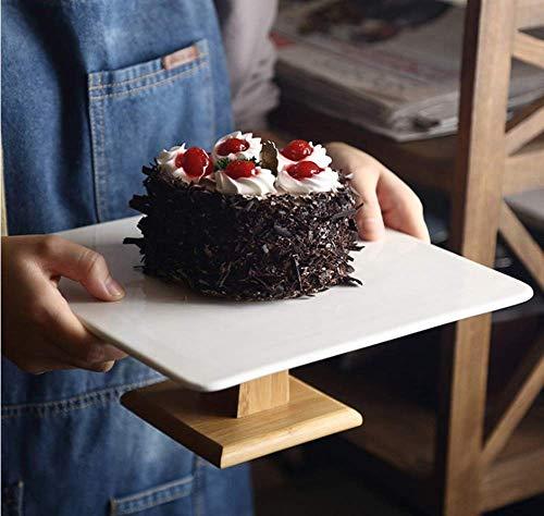 Premium Square Wood Ceramics Cake Stands Decorative Cake & Dessert Pedestal Display Stand