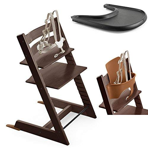 (Stokke Tripp Trapp High Chair, Baby Set - Walnut & Tray - Black)