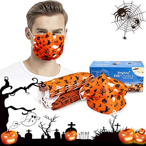 Halloween Face Mask,Disposable Face Mask for Halloween 3-ply Halloween Face Masks for Adult Disposable Halloween themed Face Mask 50pcs