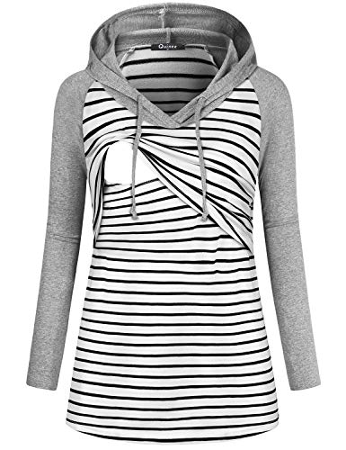 Quinee Breastfeeding Shirts, Ladies Long Sleeves V-Neck Soft Fashion Lightweight Stitching Loose-Fitted Nursing Hooded Sweatshirt Active Maternity Wear Lactation Hoodie Pullover Black Striped L