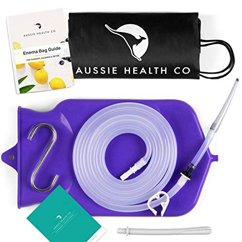 Aussie Health Co Non-Toxic Silicone Enema Bag Kit. 2 Quart. BPA & Phthalates Free. for at Home Water & Coffee Colon Cleansing. Purple Color. Includes Instruction Booklet. (Best Water For Enema)