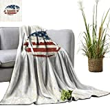 YOYI Soft Blanket Microfiber Grunge American Flag Themed Hand Stitched Rugby Ball Vintage