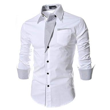 22a5a4602c1 Amazon.com  Aurorao Mens Casual Shirts Business Dress T-Shirt Long Sleeve  Slim Fit Tops  Clothing