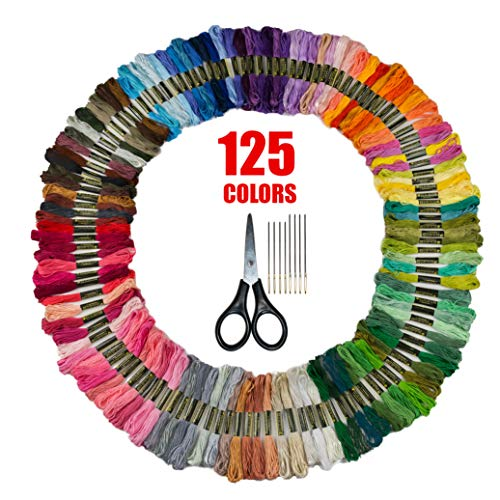 Bulk Rainbow Pack Embroidery Floss – Embroidery Kit – Friendship Bracelet String – Cross Stitch Thread – Crafting String – 125 Colors + Free Scissors and Needles