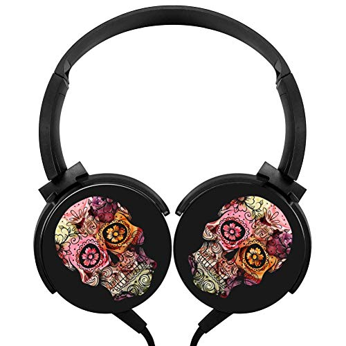 Skull Flowers Headphones 3D Printed Over-Ear Lightweight Headphone for Kids Men Woman