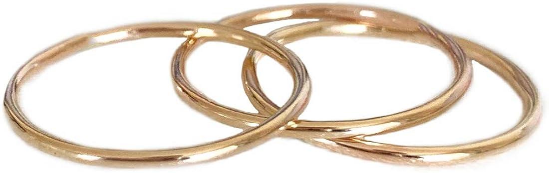 Simple Gold Midi Ring SET OF THREE
