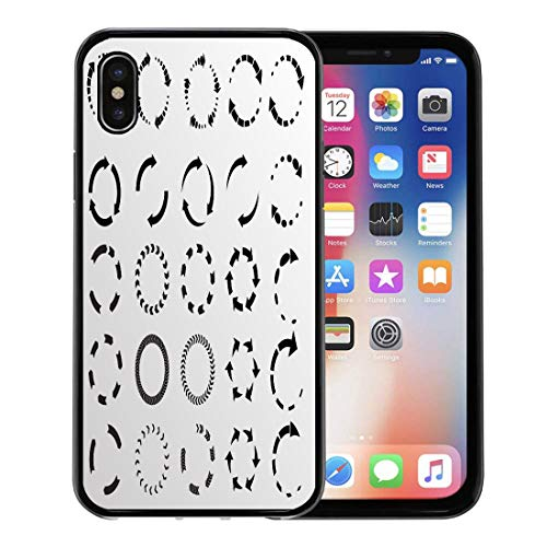 Emvency Phone Case for Apple iPhone Xs Case/iPhone X Case,Abstract Circle Circular Arrows Graphic Recycle Motion Shape Simple Soft Rubber Border Decorative, Black