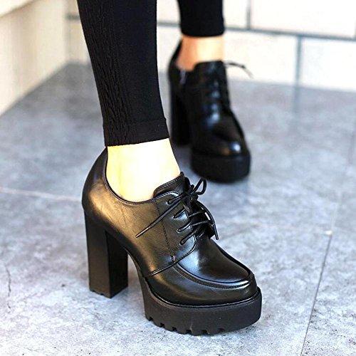 Dark En Tac¨®n Mujeres Alto o Coarse L Oto Lace Negro Zapatos yc Mujer Con De Y Primavera Black Plataforma qpfB7