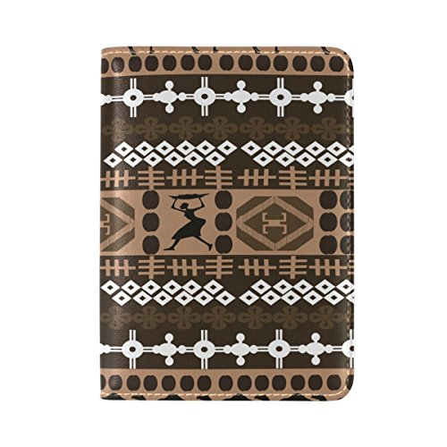 Africa Black Womens Passport Holder Cover Leather Travel case by Nigbin